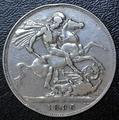 1896 LX GREAT BRITAIN - .925 SILVER CROWN - Queen Victoria - King Slaying Dragon