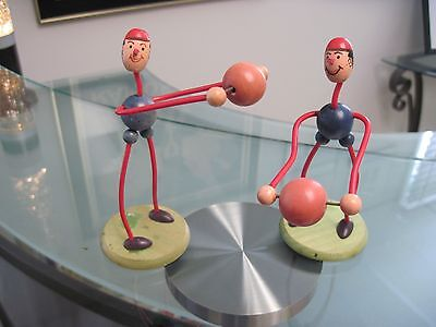 Lot Of Two Vintage Wood Weightlifting Figures Made In Austria