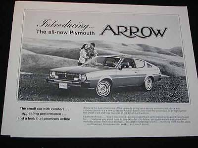 Vintage Automobile CAR BROCHURE for PLYMOUTH ARROW, c1970s, 6 pg. Advertising