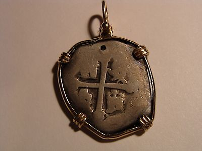* Pirate Cob & Spanish Colonial Silver Coin Pendant in 14-K gold frame !