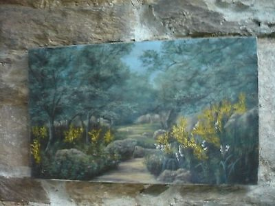 """Antique oil painting on canvas of woodland scene with yellow flowers 12""""/20"""""""