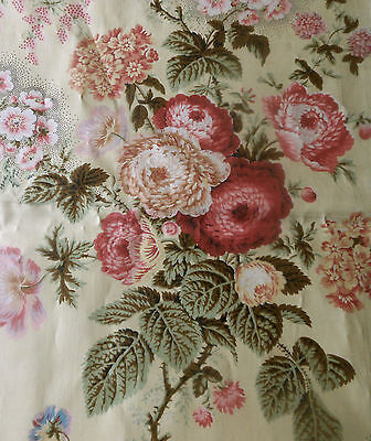 Antique Botanical Floral Chintz Fabric  #1 ~ Sage Lavender Pink Red Butter Cream