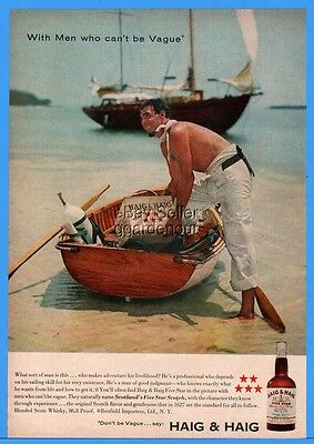 1958 Haig Five Star Scotch Bottle Sailboat Good Looking Sailor Magazine Print Ad