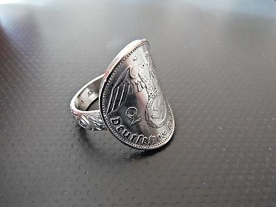 """1939 German """"3rd REICH SILVER"""" 2 - MARK   COIN RING   Size 11"""