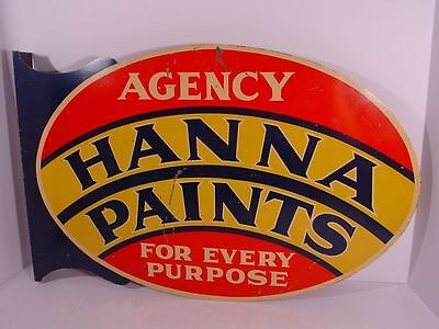 "Colorful! HANNA PAINTS Diecut Metal FLANGE SIGN ~~ ""For Every Purpose"""