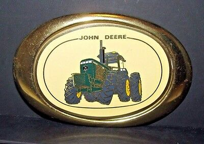 John Deere 4455 Row Crop Tractor w/ Rear Duals Oval Brass Belt Buckle Canada jd