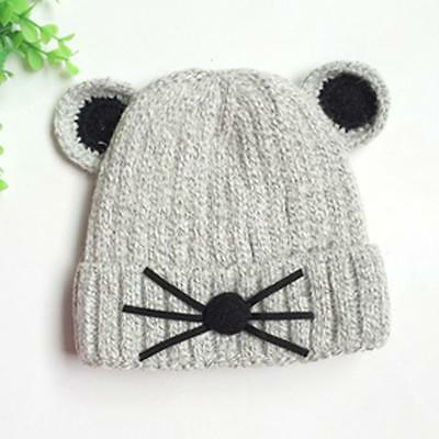 Gray Mouse Print Baby Girls Toddler Winter Warm Knitted Crochet Beanie Hat Cap