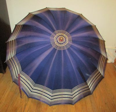 Vintage Purple Umbrella Parasol with Carved Lucite Handle & Wood Shaft