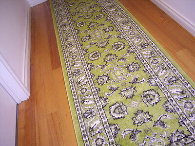 Hallway Runner Hall Runner Rug Modern Green 3 Metres Long FREE DELIVERY