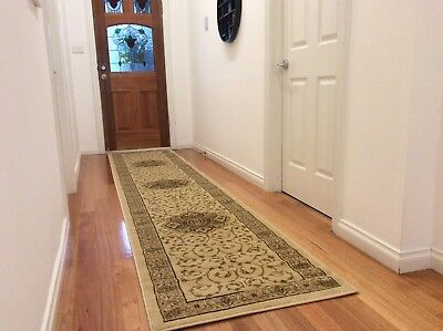Hallway Runner Hall Runner Rug 3 Metres Long Traditional Cream FREE DELIVERY