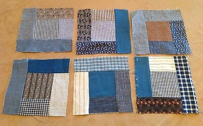 Six Antique Patchwork Quilt Blocks, Logs, Center Square, Multi Early Fabrics