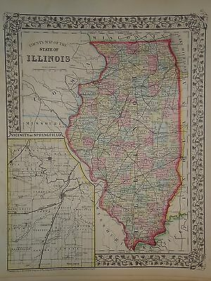 Vintage 1872 Illinois Map Old Antique Original Old Atlas Map Free S&h1872/032316