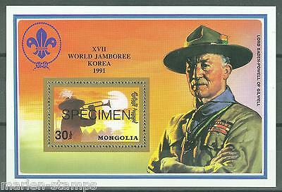 Mongolia Baden Powell World Jamboree 1991 Korea Souvenir Sheet Specimen Mint Nh