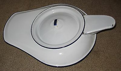 Vintage White Enamel metal Male Urinal Bed Pan with cover