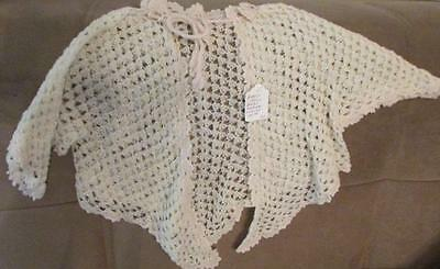 Antique Victorian Baby Matinee Sweater Loose Delicate Crochet Early 1900s