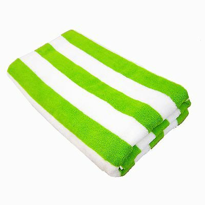 100% COTTON 75X150cm LARGE  STRIPE Lime Green STRIPED POOL / BEACH TOWEL TOWELS