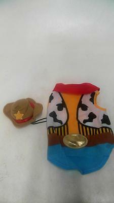 Dog Cowboy Costume Blue Yellow Unisex XS 9-11 in Accessories Western Solid