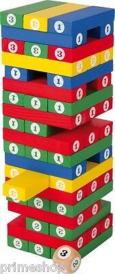 Numbers tower Shaking tower of wood Dice game Party game 7,5 x 7,5 x 24 cm