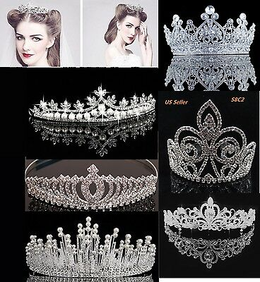 Bridal Crystal Tiara Crown Comb Hair Rhinestone Wedding Pearl Headband Gift S8C