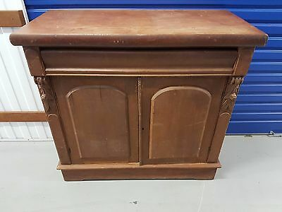 Antique Kauri Pine Side Board Compact & Elegant needs minor restoration