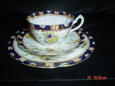 Very Pretty William Lowe Trio Tea Cup Saucer And Side Plate Circa 1901