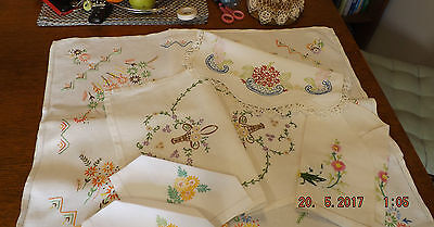 Antique Irish  Linen Hand Embroidered  Lot Of