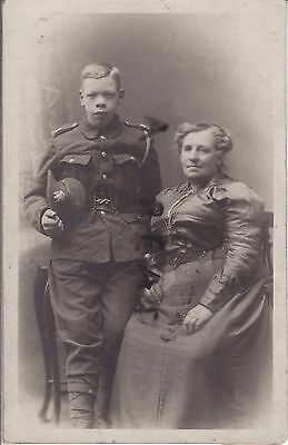 WW1 very young soldier Manchester Regiment with his Mother