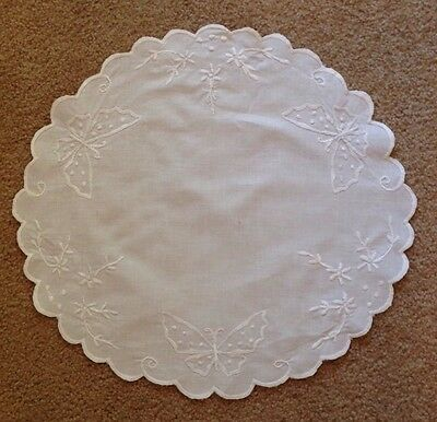 Vintage White Embroidered Butterfly Round Doily Table Runner 16""