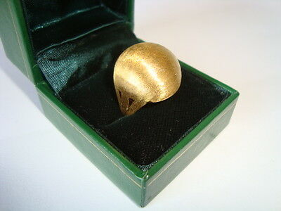 Stunning 14K Vintage Modernist Puffball Space Age Textured Ring Uk-L Stamped