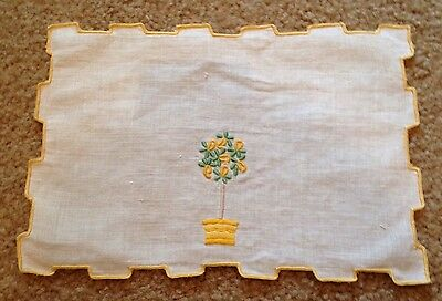 Vintage Embroidered Lemon Tree Linen Table Tray Doily Runner