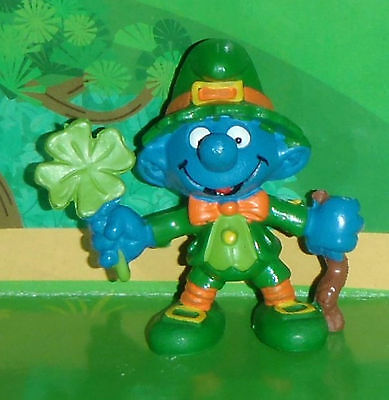 Vintage Rare Good Luck Smurf With A Shamrock & A Shillelagh 1982 Smurf Lot