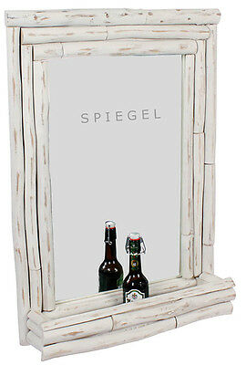 spiegel woody mit ablage 80x60cm neu holz shabby look wei wandspiegel eur 29 95 picclick de. Black Bedroom Furniture Sets. Home Design Ideas