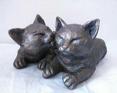 Past Times - Pair Of Bronze Effect Cats