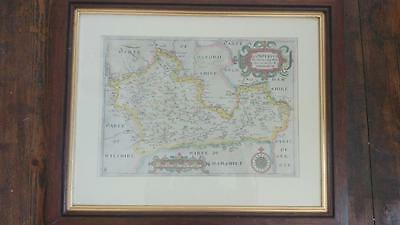 Authentic Early 17th C Saxton/Hole Hand Coloured Map of Berkshire Circa 1610