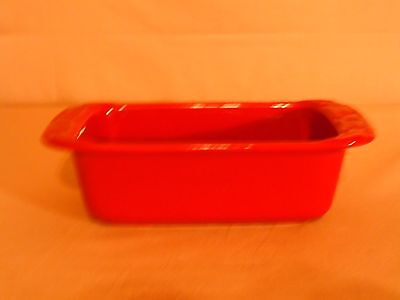 """Longaberger Pottery 8"""" Mini Loaf Pan Woven Traditions Paprika Red"""