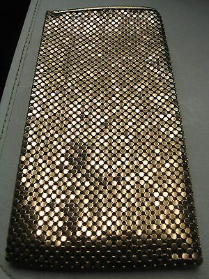 "Women's Vintage Eye Glass Case: Gold Mesh ""whiting & Davis"" Fabric Logo Lining."