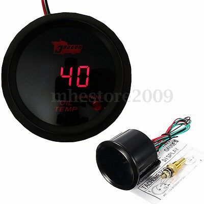 Universal 2'' 52mm Car Digital Red LED Oil Temperature Temp Meter Gauge W/ Kits