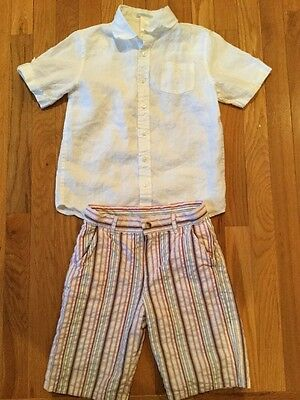 Janie And Jack Outfit White Short Sleeve Shirt Striped Shorts Size 7