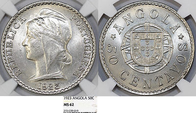 ANGOLA as Portuguese Colony. CuNi 50 Centavos 1923. NGC MS62
