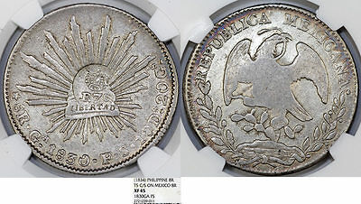 PHILIPPINES. 8 Reales, ND 1834. struck on Mexico 1830 Ga. NGC XF45