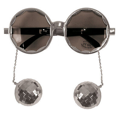 Silver Framed Party Glasses With 70S Disco Balls