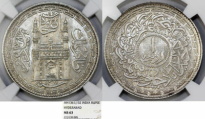 India. Hyderabad Province. Silver Rupee AH1361\32 ( 1942AD). NGC MS63