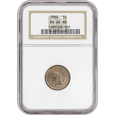 1866 US Indian Head Cent 1C - NGC MS64 RB