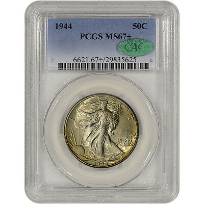1944 US Walking Liberty Silver Half Dollar 50C - PCGS MS67+ CAC Verified