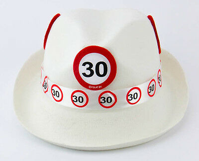 30Th Birthday White Trilby Traffic Sign Age Party