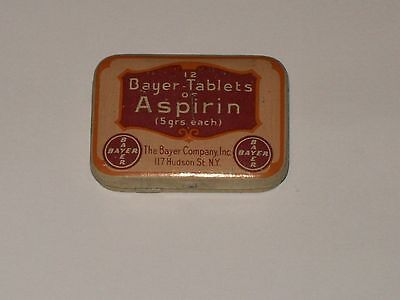 Vintage-Advertising-Medicine-Tin-BAYER-Tablets-of-ASPIRIN-Empty-Grippe-Scarce