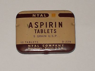 Vintage-Advertising-Medicine-Tin-NYAL-Aspirin-Tablets-Empty-Scarce