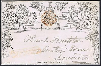 1840 1d Mulready Fine Used Dorchester Penny Post Military Mail Cat. £500.00
