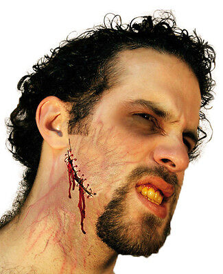 Face Wound Stitched Gash Latex Scar Application Gruesome Halloween Horror