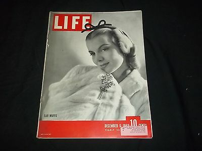 1943 December 6 Life Magazine - Ear Muffs - Beautiful Front Cover - Gg 644